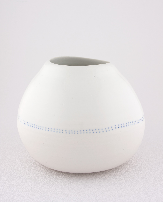 Shio Kusaka  Untitled (blue dot chubby)  2009 Porcelain 6 ⅛h x 6 ½w in SK054