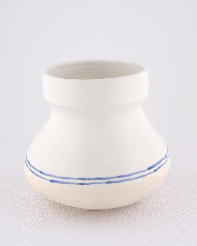 Shio Kusaka  Untitled (blue stripe 3)  2009 Porcelain 6 ½h x 6 ¾w in SK053