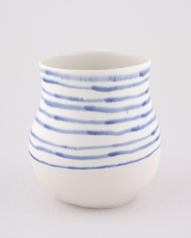 Shio Kusaka  Untitled (blue stripe 2)  2009 Porcelain 6 ¾h x 6 ½w in SK052