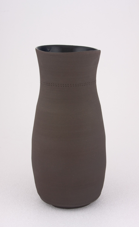 Shio Kusaka  Untitled (dot black 2)  2009 Stoneware 9 ½h x 4 ½w in SK039