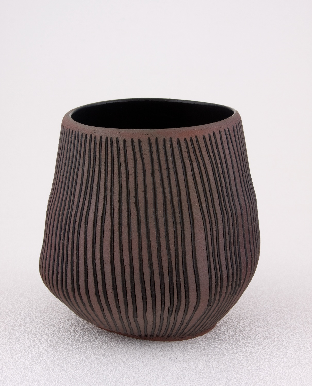 Shio Kusaka  Untitled (carved stripe 2)  2009 Stoneware 4 ½h x 4w in SK022