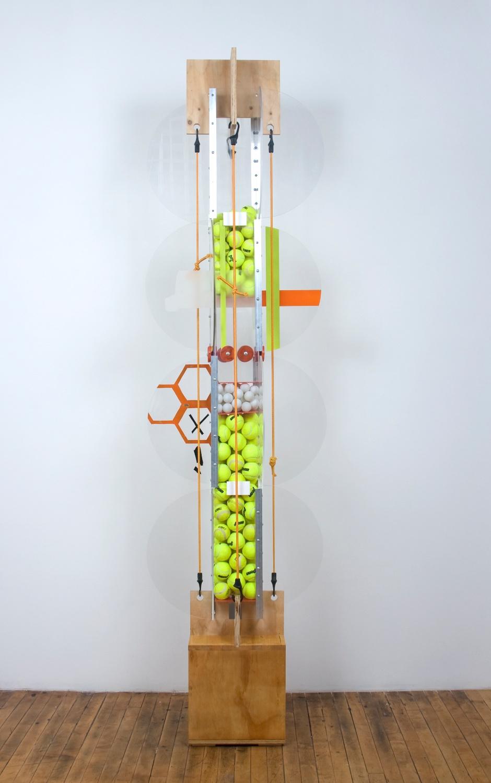 Jason Meadows  Vehicular Cellular Pattern  2008 Wood, extruded aluminum, hardware, plexiglass, spray paint, tennis balls, and mixed media 78h x 26w x 26d in JM018