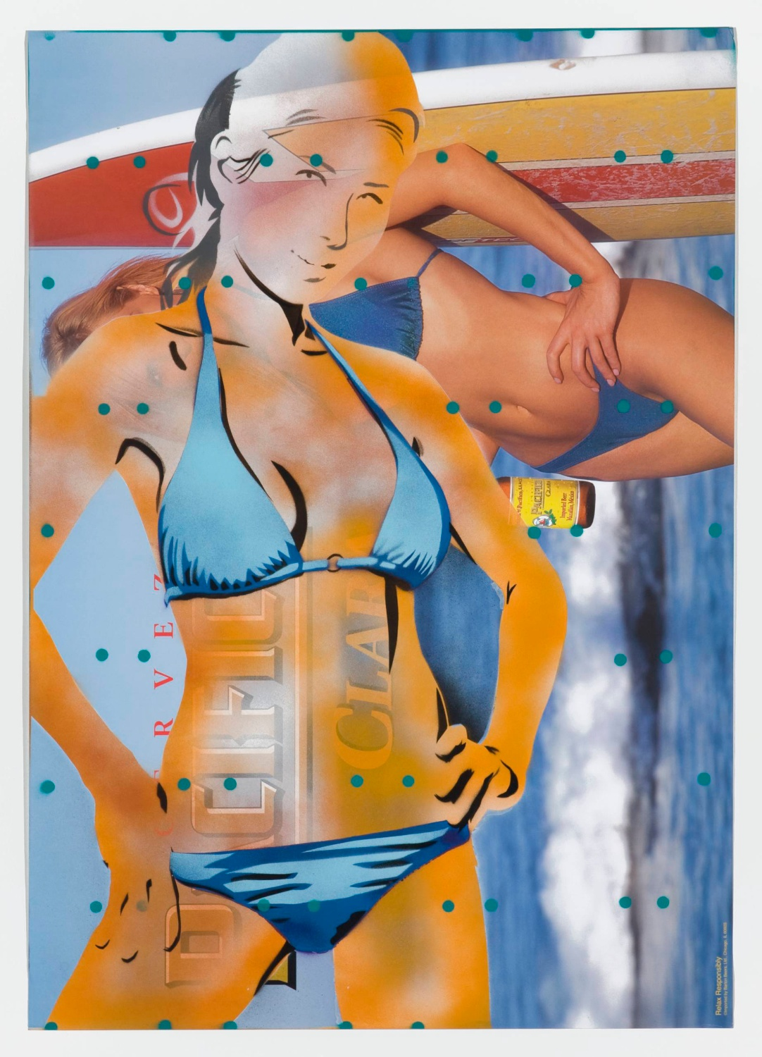 Jason Meadows  Untitled (Pacifico)  2008 Spray-paint on poster 27h x 19w in JM013