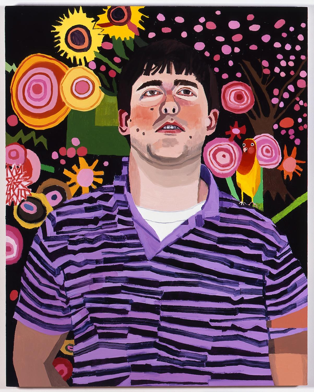 "Jonas Wood Nick Lowe 2 (Peach Faced Love Bird) 2007 Oil on canvas 35"" x 28"" JW008"