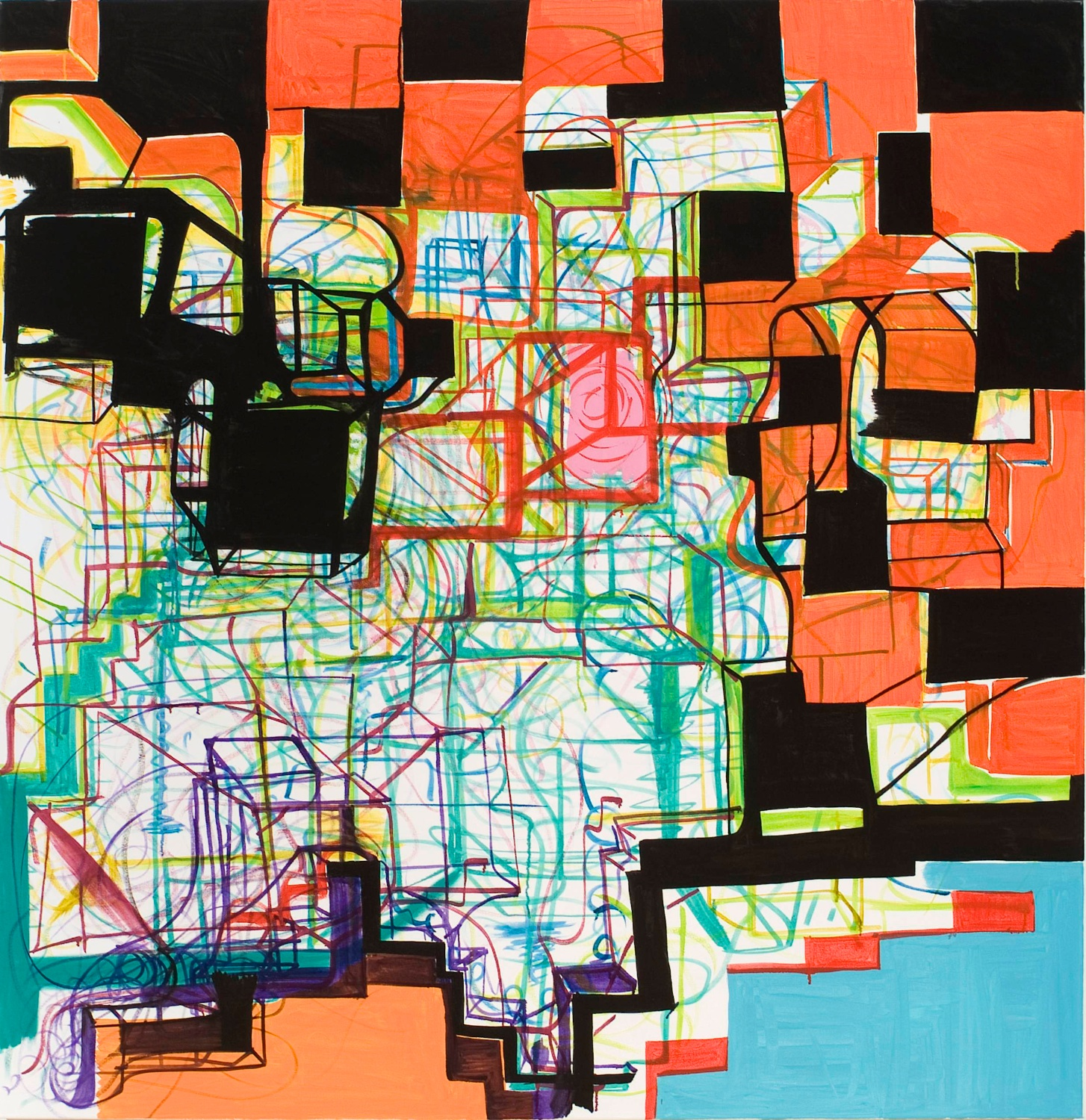 "Joanne Greenbaum Untitled 2007 Oil, flashe, and acrylic on canvas 66"" x 64"" JG003"