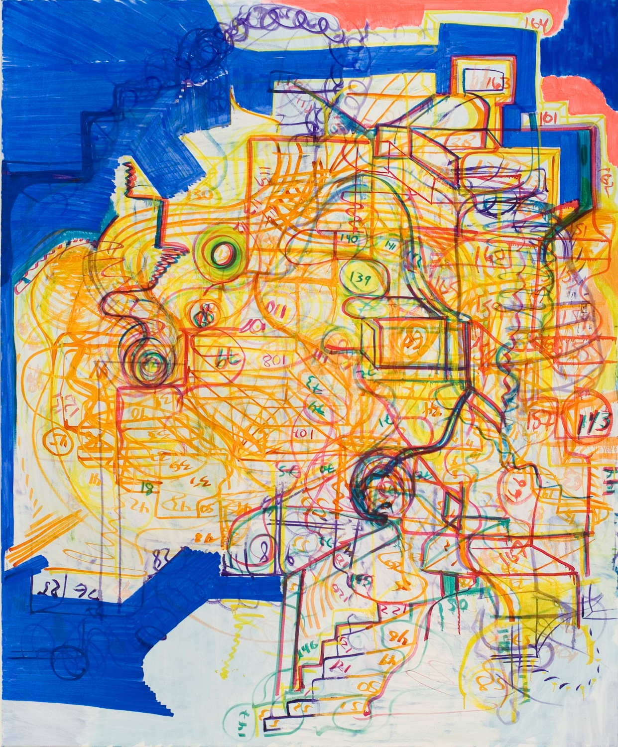 "Joanne Greenbaum Untitled 2007 Oil, flashe, and acrylic on canvas 68"" x 56"" JG002"