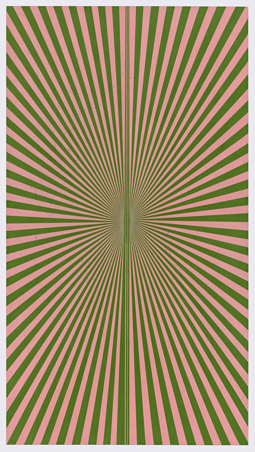 Mark Grotjahn 2013  Untitled (Blush Pink and Kelly Green Butterfly 45.13)  Color pencil on paper 76h x 42w in MG45.13