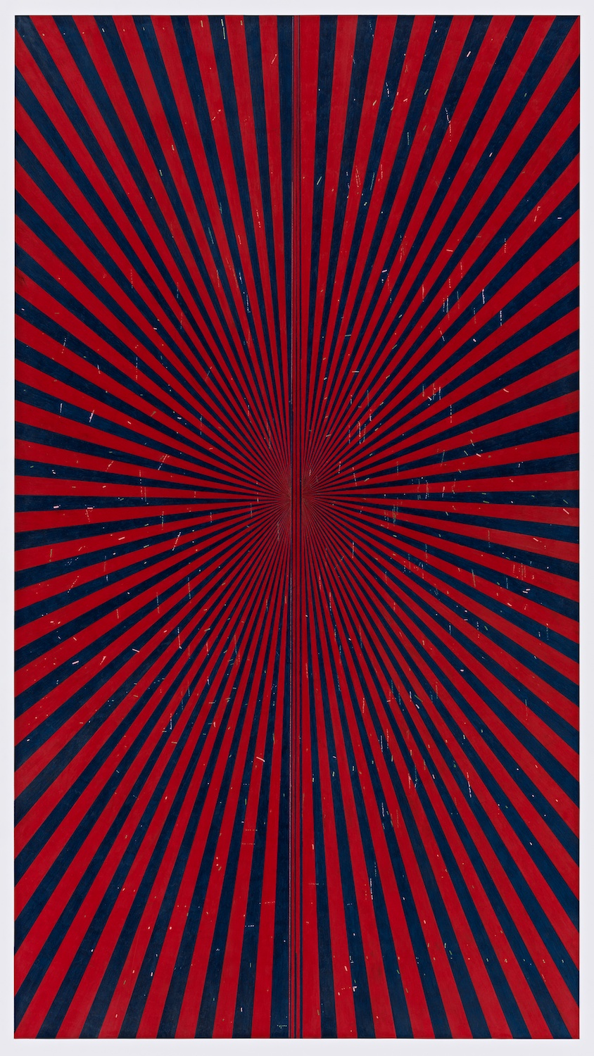 Mark Grotjahn  Untitled (Indigo Blue and Crimson Red Butterfly 45.14)  2013 Color pencil on paper 76h x 42w in MG45.14