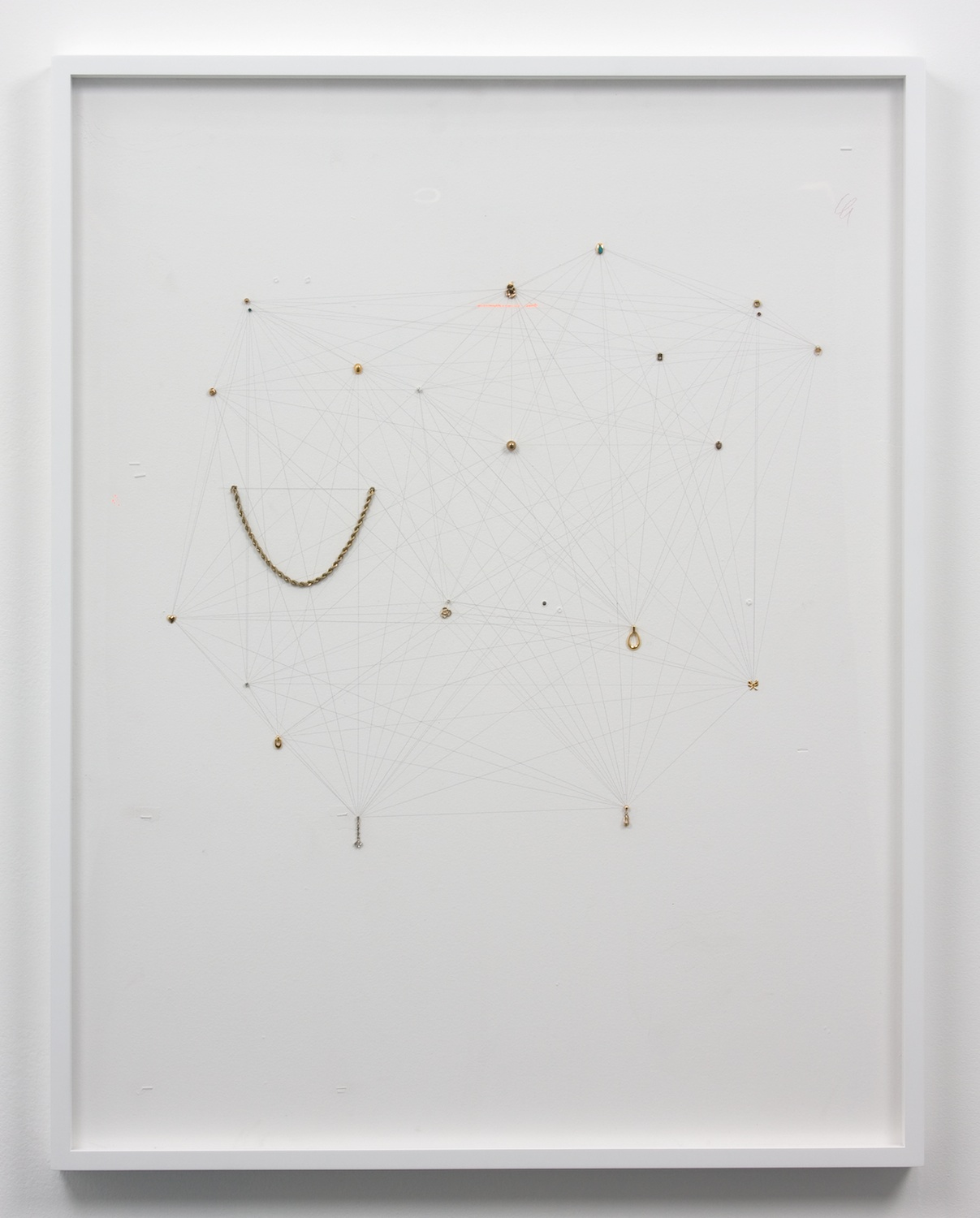 Amanda Ross-Ho  Untitled Still Life (Network Arcticulation with Ornamental Standins)  2010 Sheetrock, latex paint, staples, paper, acrylic paint, colored pencil, single earrings, and gold plated chain 42h x 32w in ARH001