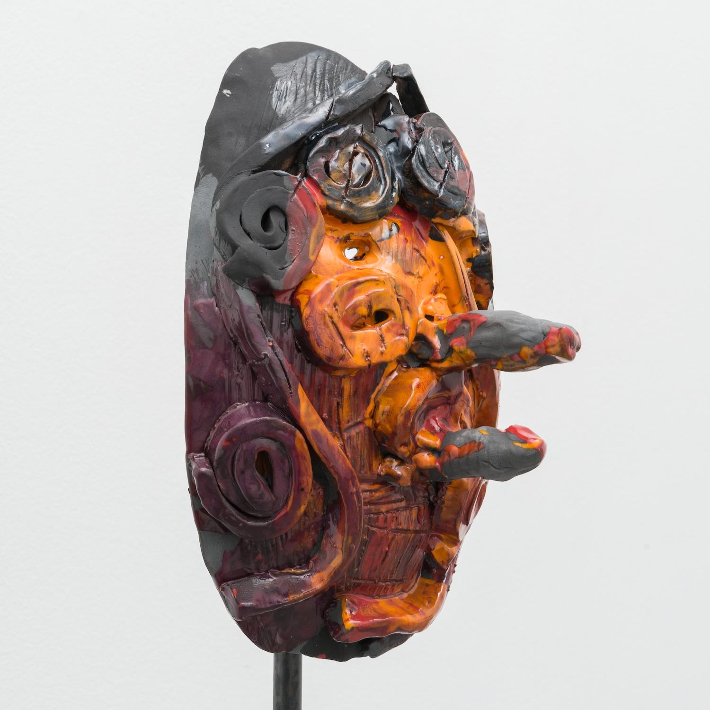 William J. O'Brien  Untitled  2014 Mixed media on wood; Glazed ceramic on steel armature 66 ½h x 20w x 20d in (ceramic + stand) WOB934