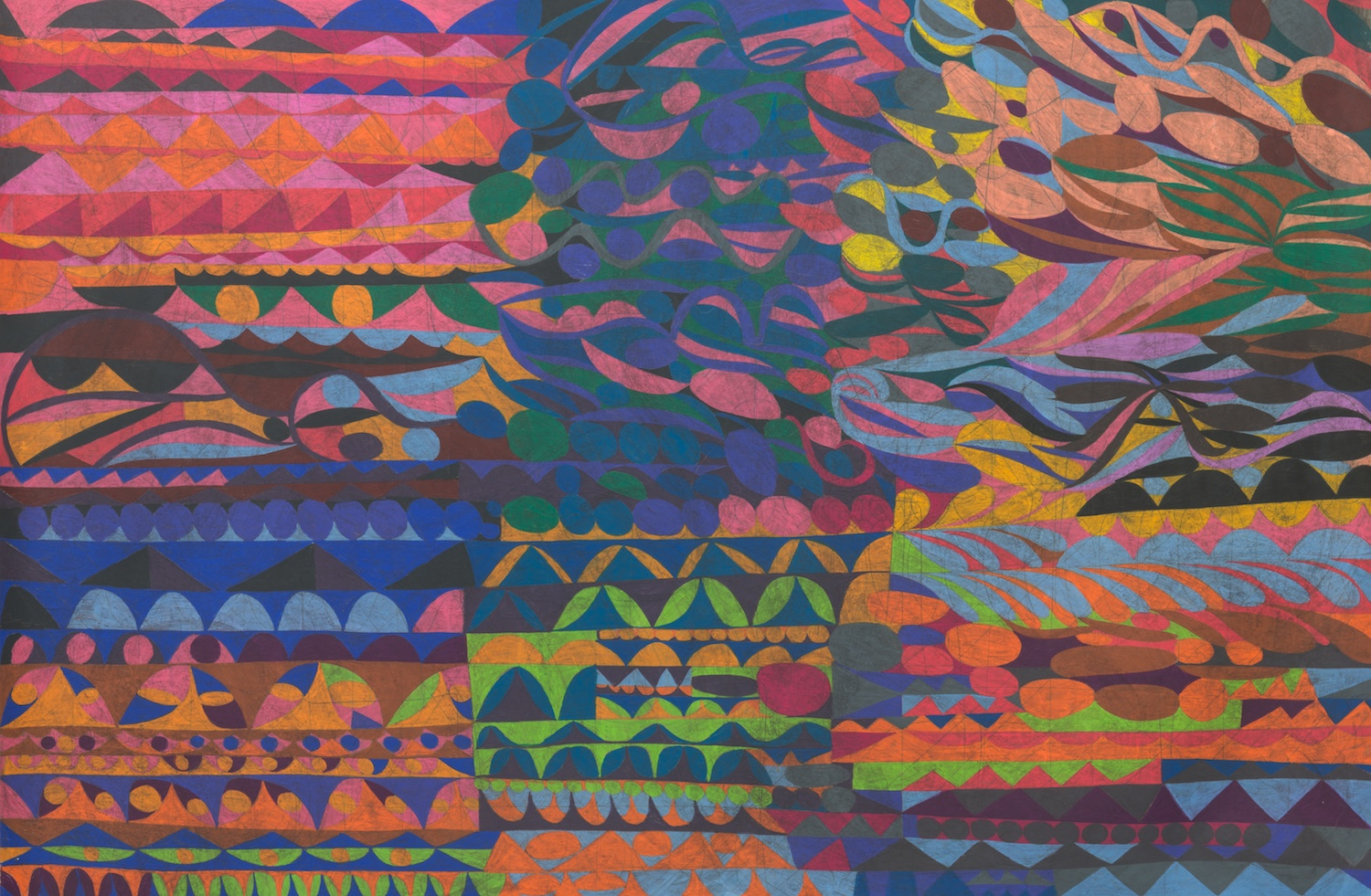 William J. O'Brien  Untitled  2013 Colored pencil and ink on paper 62h x 72w in WOB932