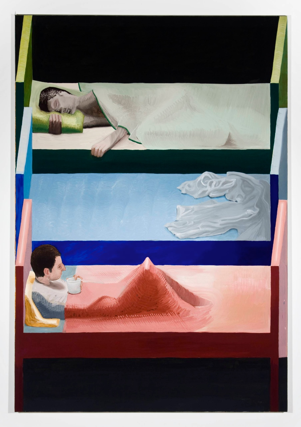 Jesse Chapman  The Beds  2008 Oil on linen 57 ⅛h x 39 ⅜w in