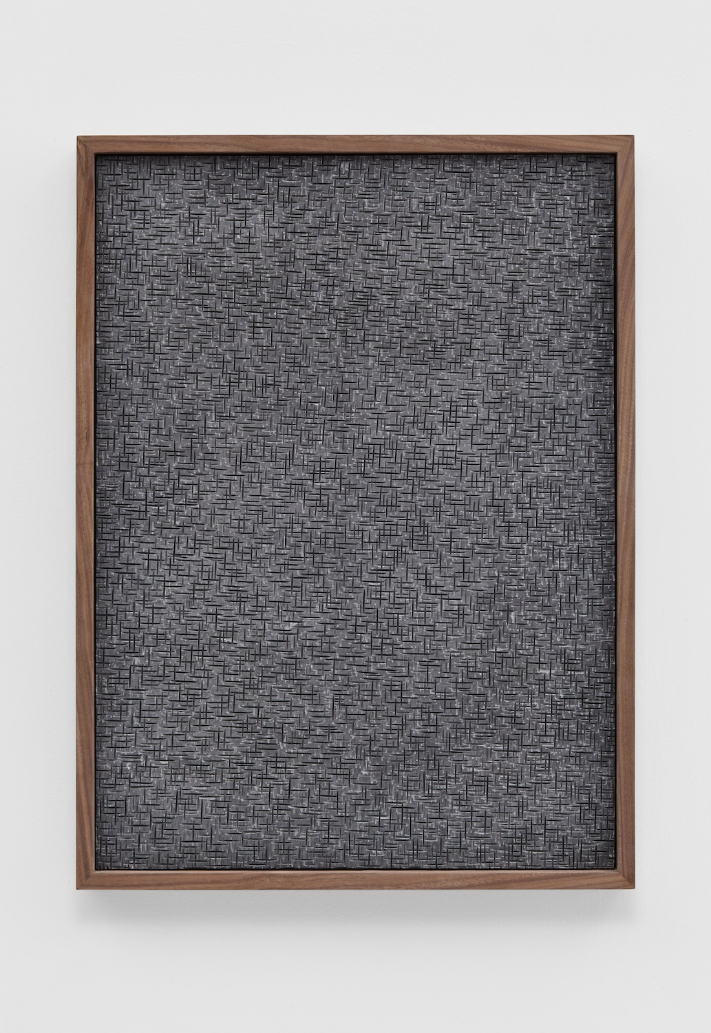 Anthony Pearson  Untitled (Etched Plaster)  2014 Pigmented hydrocal in walnut frame 24 ½h x 18 ½w x 2 ¼d in AP359