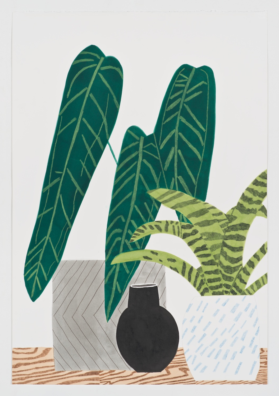 Jonas Wood  Still Life with Blue Tear Pot  2013 Gouache, ink, and colored pencil on paper 41h x 27 ⅞w in JW172