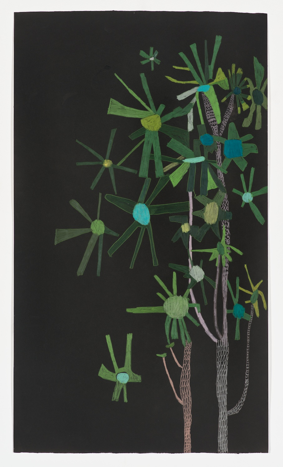 Jonas Wood  Untitled Star Plant  2011 Ink and colored pencil on paper 41h x 23 ⅝w in JW174