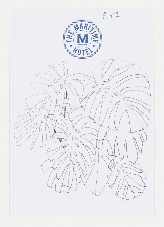 Jonas Wood  TMH4  2014 Ballpoint pen on paper 6 ½h x 4 ½w in JW177