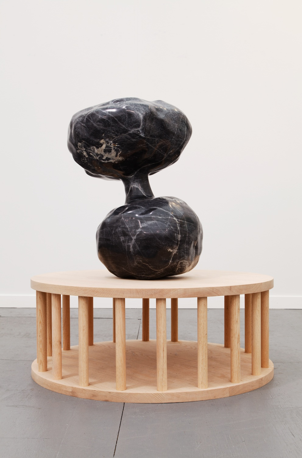 Alma Allen  Untitled  2014 Grey marble with wooden base 44h x 30w x 30d in AA021