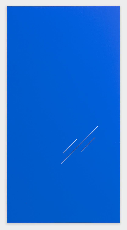 Paul Cowan  BCEAUSE THE SKY IS BULE  2013 Chroma-key blue paint on canvas 78h x 41w in PC079