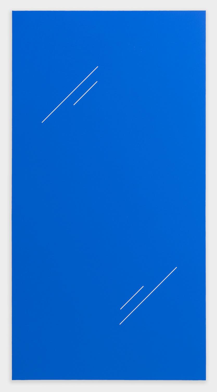 Paul Cowan  BCEAUSE THE SKY IS BULE  2013 Chroma-key blue paint on canvas 78h x 41w in PC081