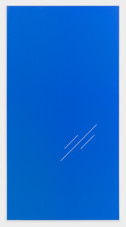 Paul Cowan  BCEAUSE THE SKY IS BULE  2013 Chroma-key blue paint on canvas 78h x 41w in PC083