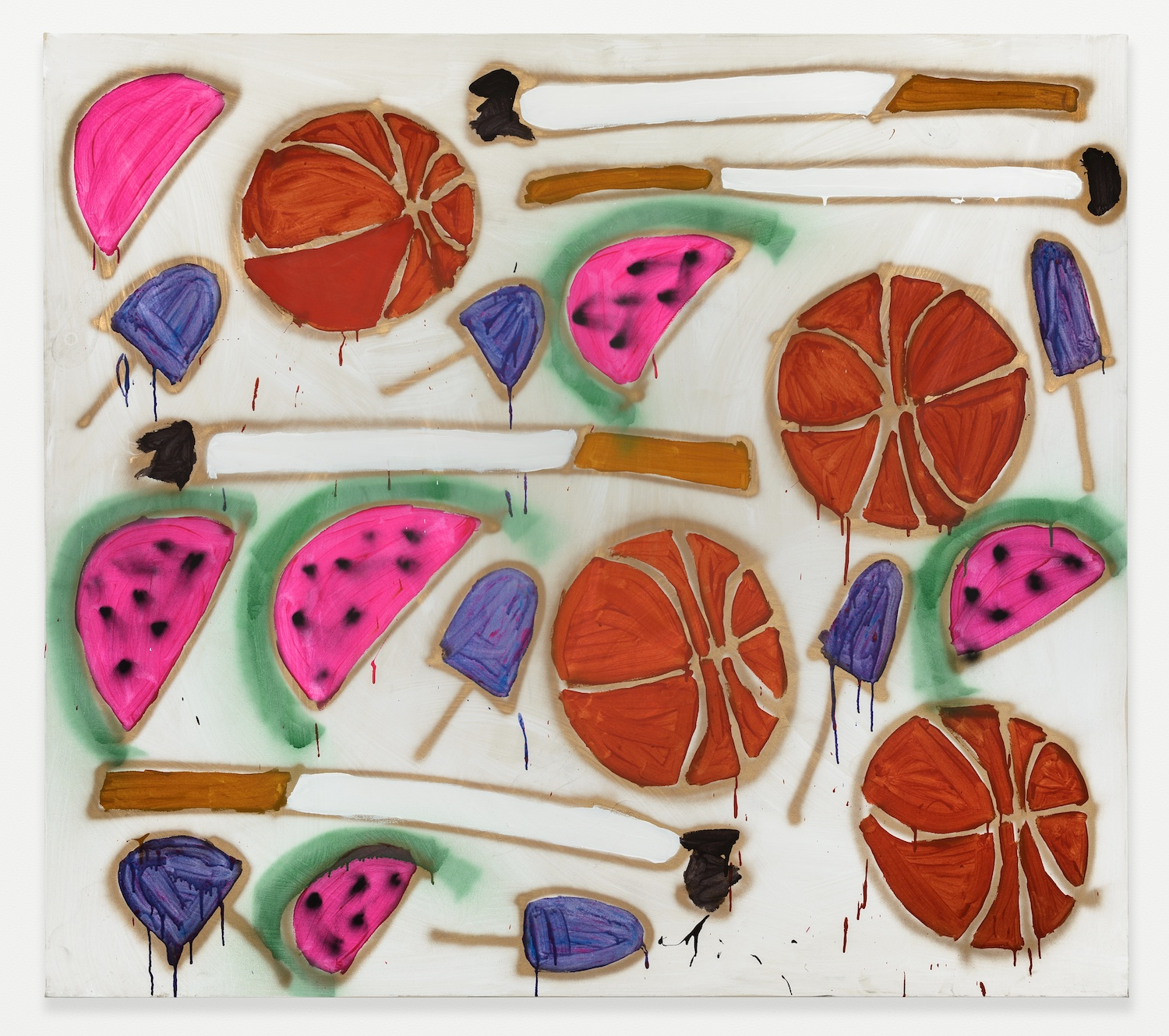 Katherine Bernhardt  Watermelon, Basketballs, Popsicles, and Cigs  2014 Acrylic and spray paint on canvas 72h x 78w in KBern001