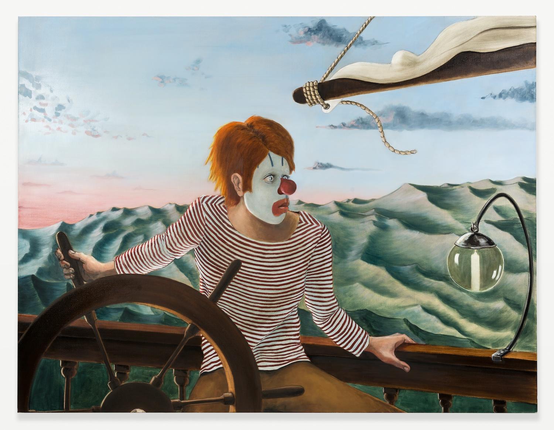 Sean Landers  Around the World Alone (Boy Skipper - Dawn)  2011 Oil on linen 52h x 68w in SL001