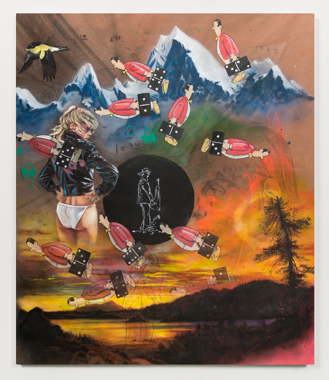 Friedrich Kunath  we go back home to see who we were  2014 Oil, acrylic, ink, and pencil 45 ½h x 41 ½w in FK001