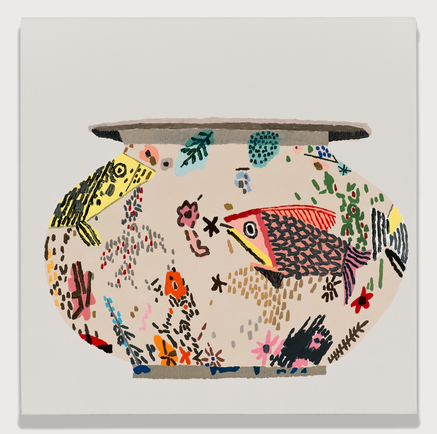 Jonas Wood  M. S. F. Fish Pot #1  2014 Oil and acrylic on linen 18h x 18w in JW182