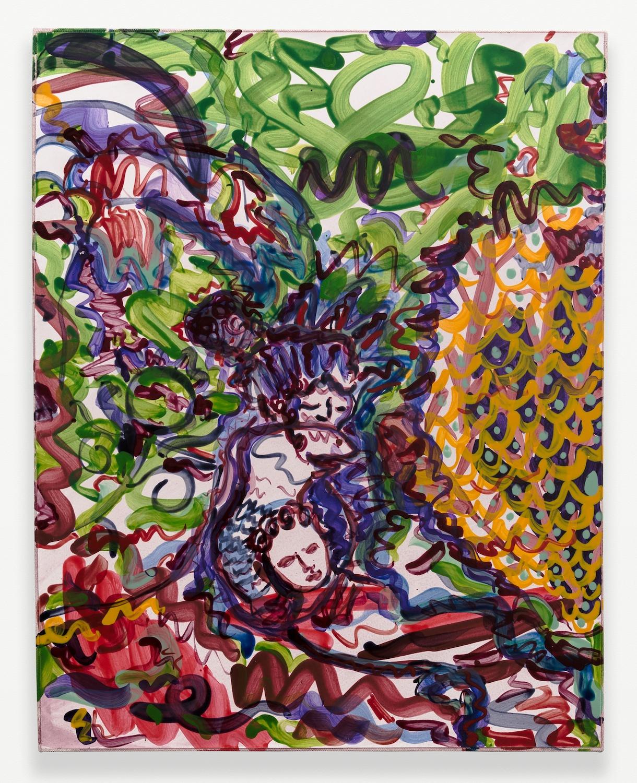Nick Schutzenhofer  Untitled  2014 Egg tempera on paper mounted to canvas 29 ⅛h x 23 ⅛w x 1d in 2014