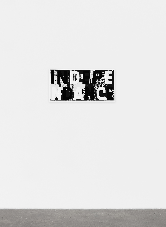 Adam Pendleton  Bricks II  2012 Silkscreen ink on mirror polished stainless steel 13h x 27 ¼w in AdamP046