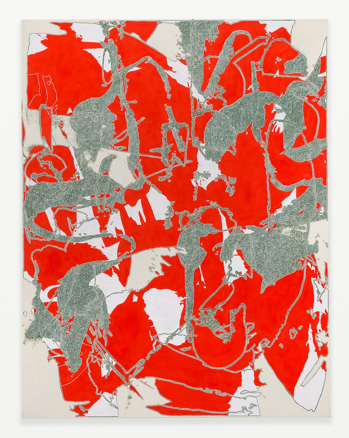Zak Prekop  Red and Green  2014 Oil on canvas 35h x 27w in ZP306