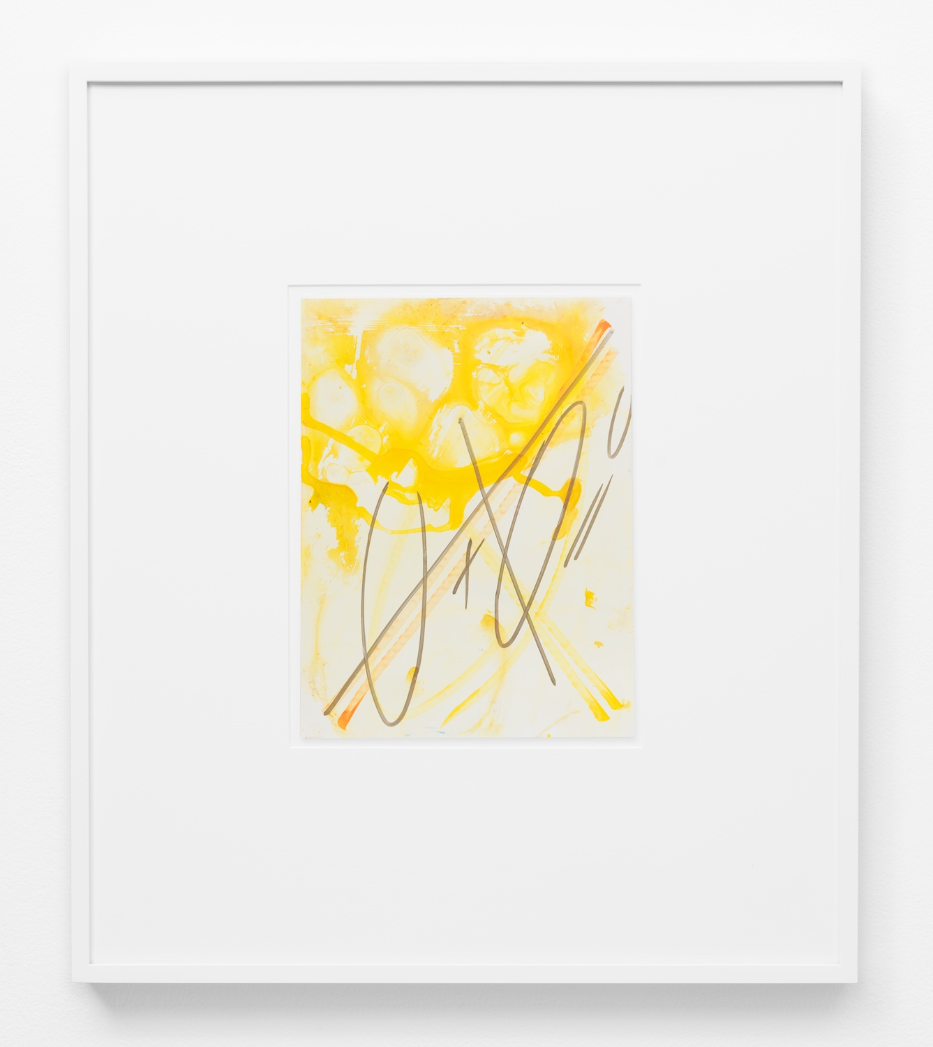 Suzanne McClelland  0 + 0 = 0 yellow  2014 Ink and paint marker on YUPO 12h x 9w in SM219
