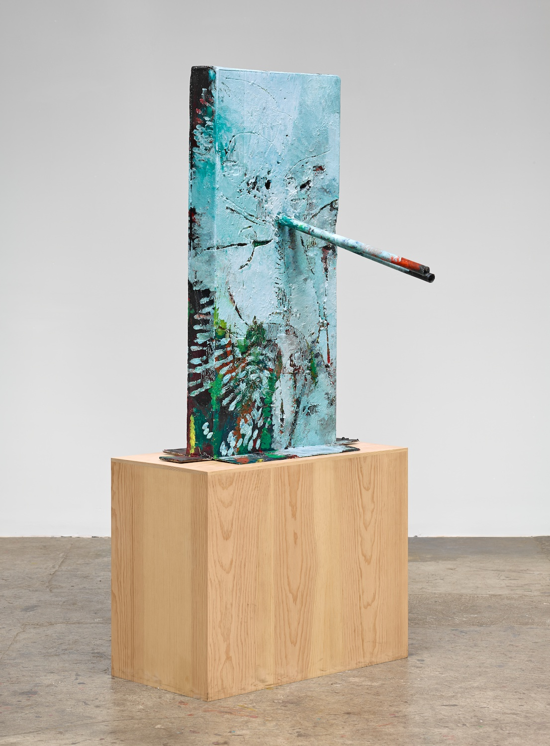 Mark Grotjahn  Untitled (Blue Face, Italian Mask M30.a)  2013 Painted bronze 53h x 34w x 38d in M30.a
