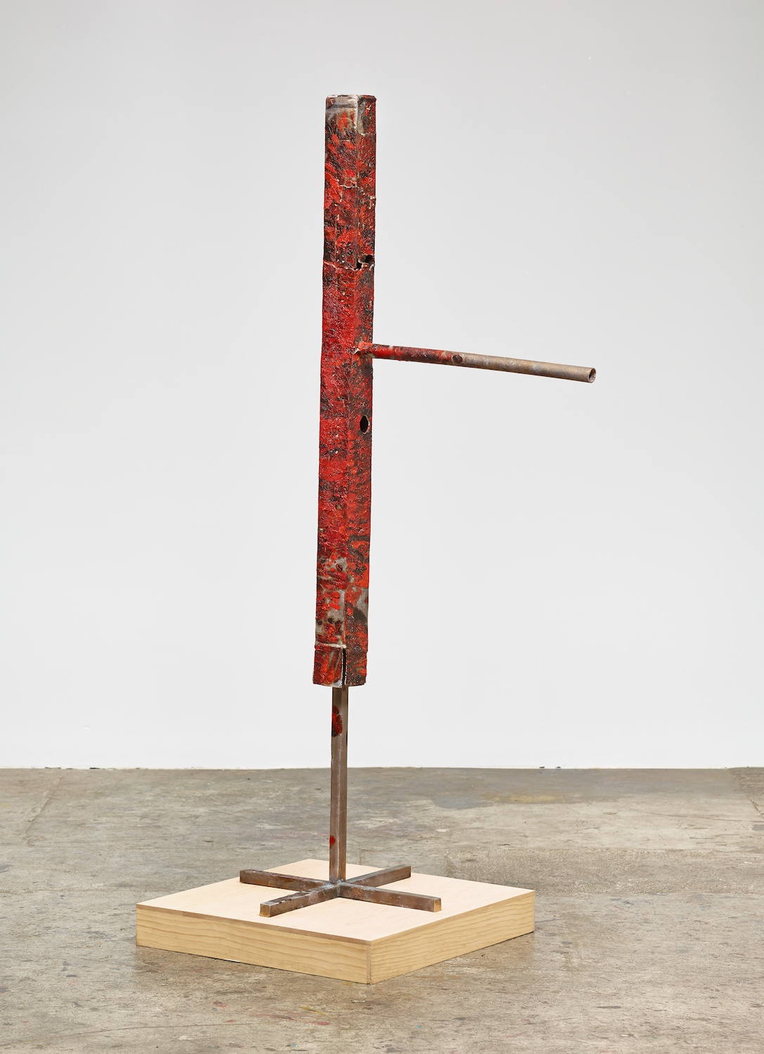 Mark Grotjahn  Untitled (Tall Skinny Big Nose Red and Black Tiger Pattern over Raw Mask M26.d)  2013 Painted bronze 78h x 24w x 40d in M26.d