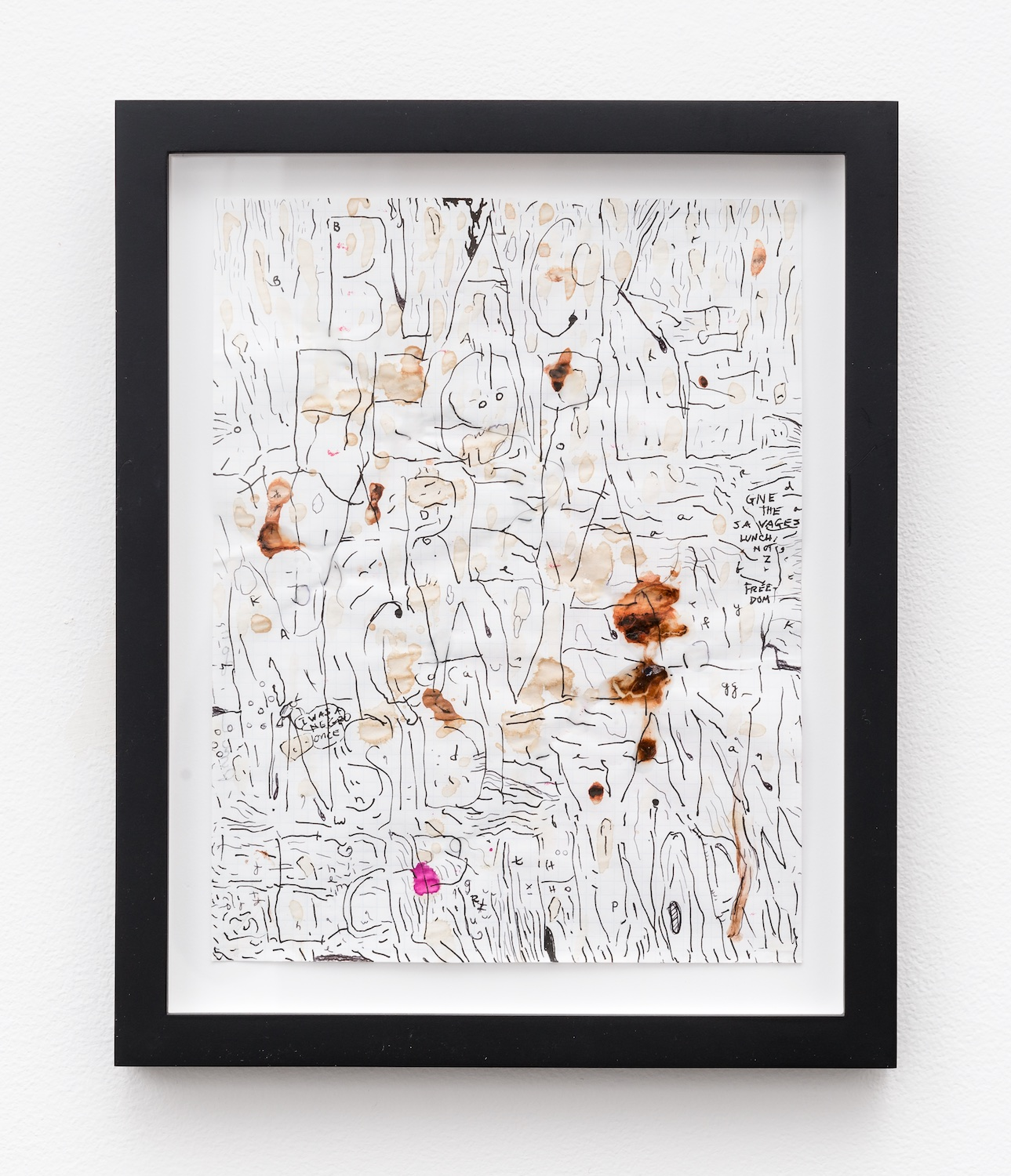 William Pope.L  Black People Are A Cave Inside An Earthworm  2011 Mixed media on paper 11h x 8 ½w in WP001