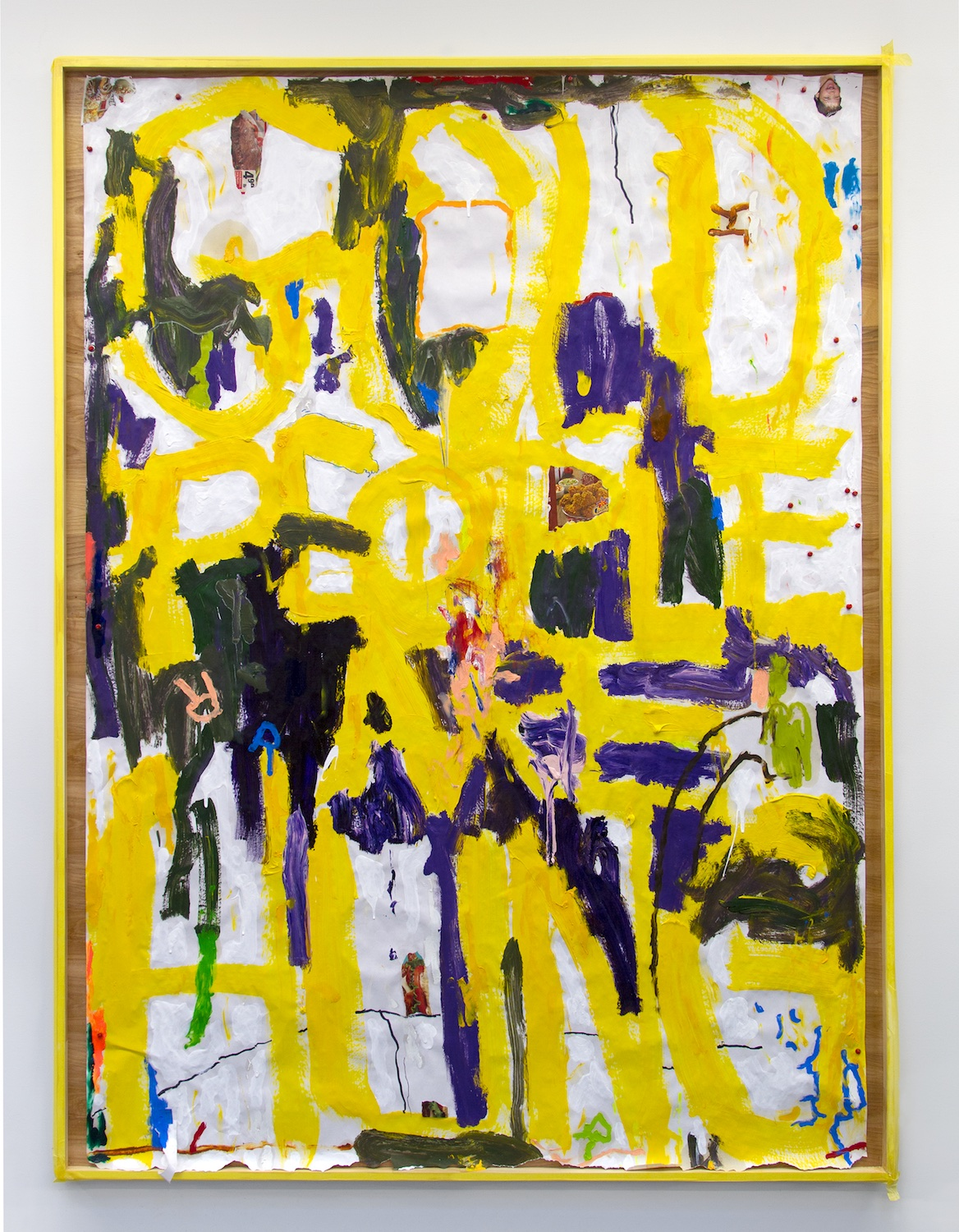 William Pope.L  Gold People are Hung  2015 Acrylic, oil, pencil, collage, wooden frame 84h x 60w in WP010
