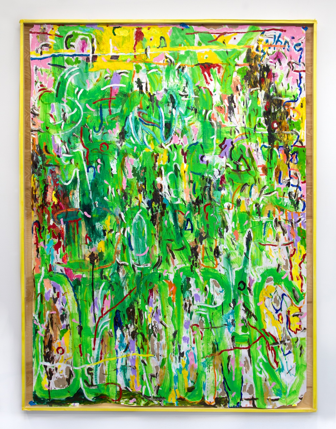 William Pope.L  Gray People are Michael Dorn Democrac or the Alternative Title  2015 Acrylic, oil, wooden frame 84h x 60w in WP009