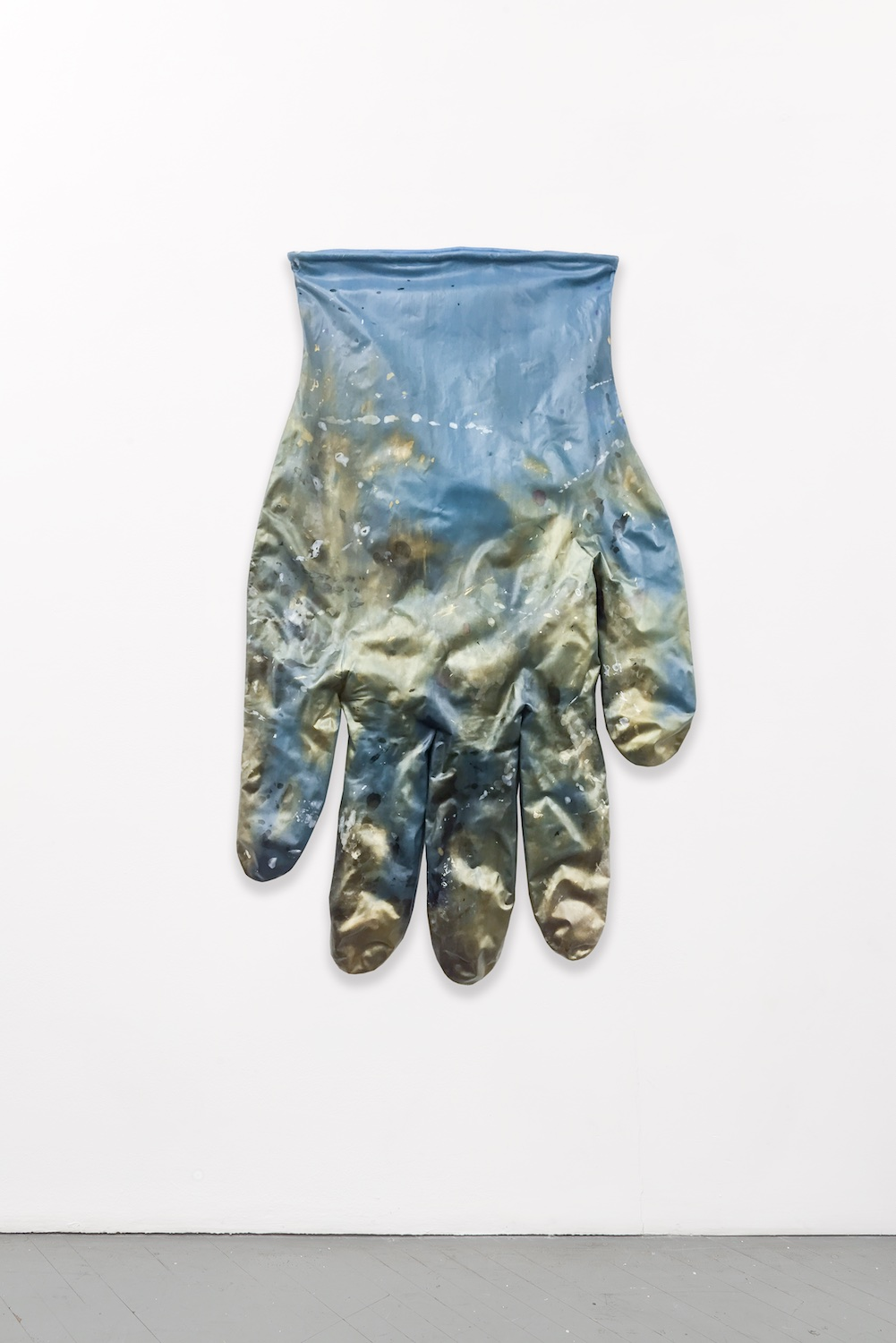 Amanda Ross-Ho  BLUE GLOVE LEFT #3  2015 Dyed stretch cotton sateen 70h x 42w in ARH099