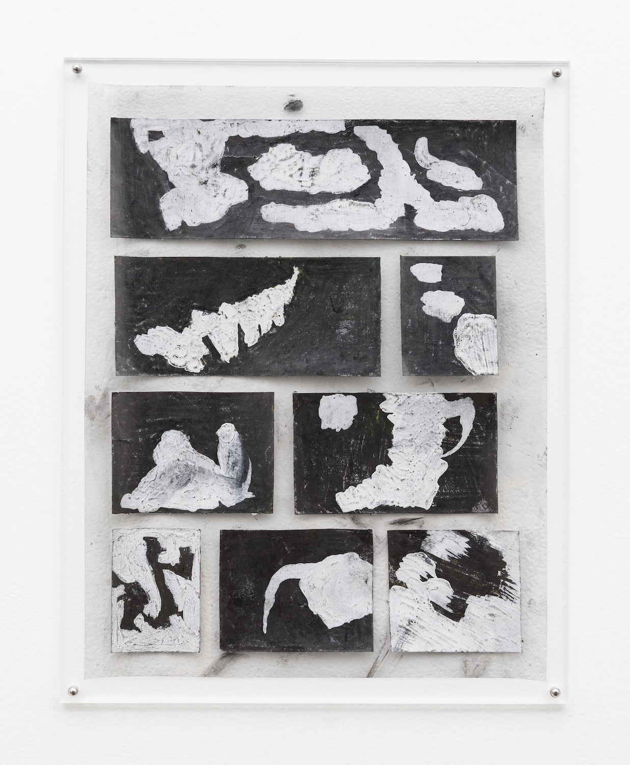 Tony Lewis  I Don't Know Why I Even Talk To You Before Dinner  2014 Pencil and graphite powder on paper and transparency 11h x 8 ½w in TL243