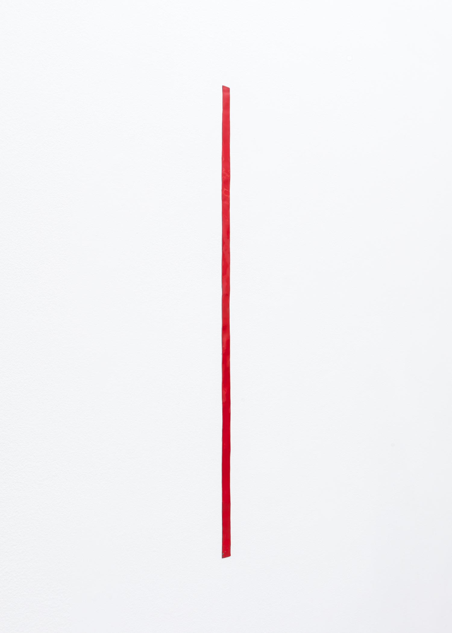 Nancy Brooks Brody  39 inch Measure (red 1)  2014 Oil enamel on lead embedded into wall 39h x 1w in NBB003