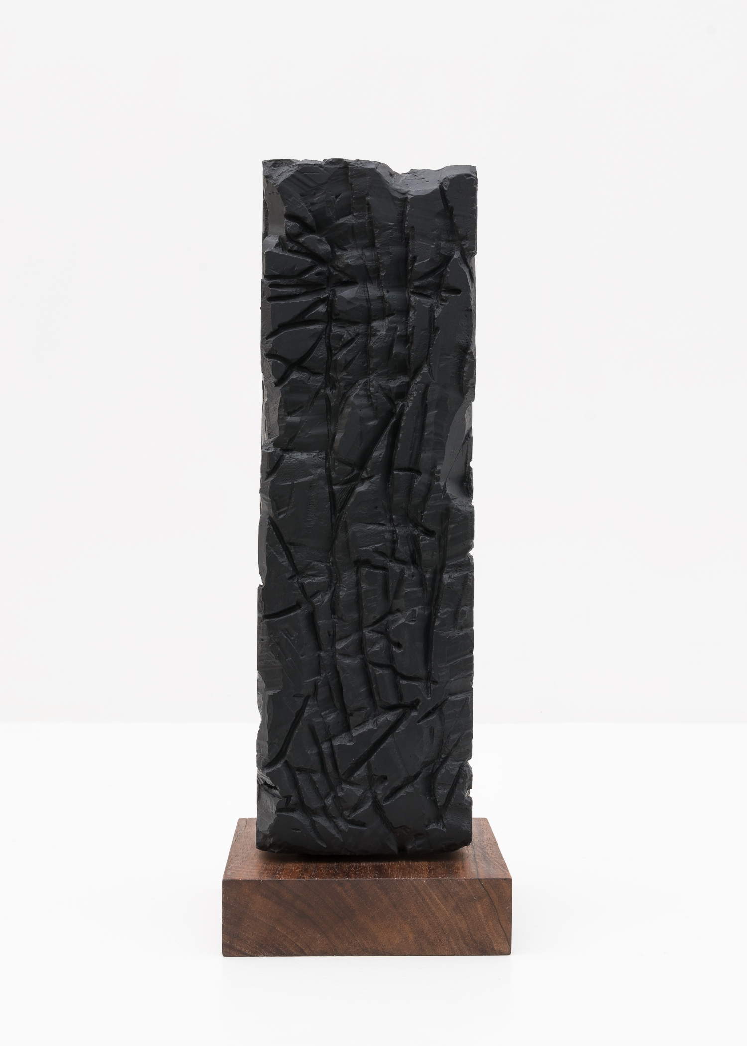 Anthony Pearson  Untitled (Freestanding Sculpture)  2015 Medium coated pigmented white art plaster with oiled walnut base 16 ¼h x 3 ½w x 3 ½d in AP373