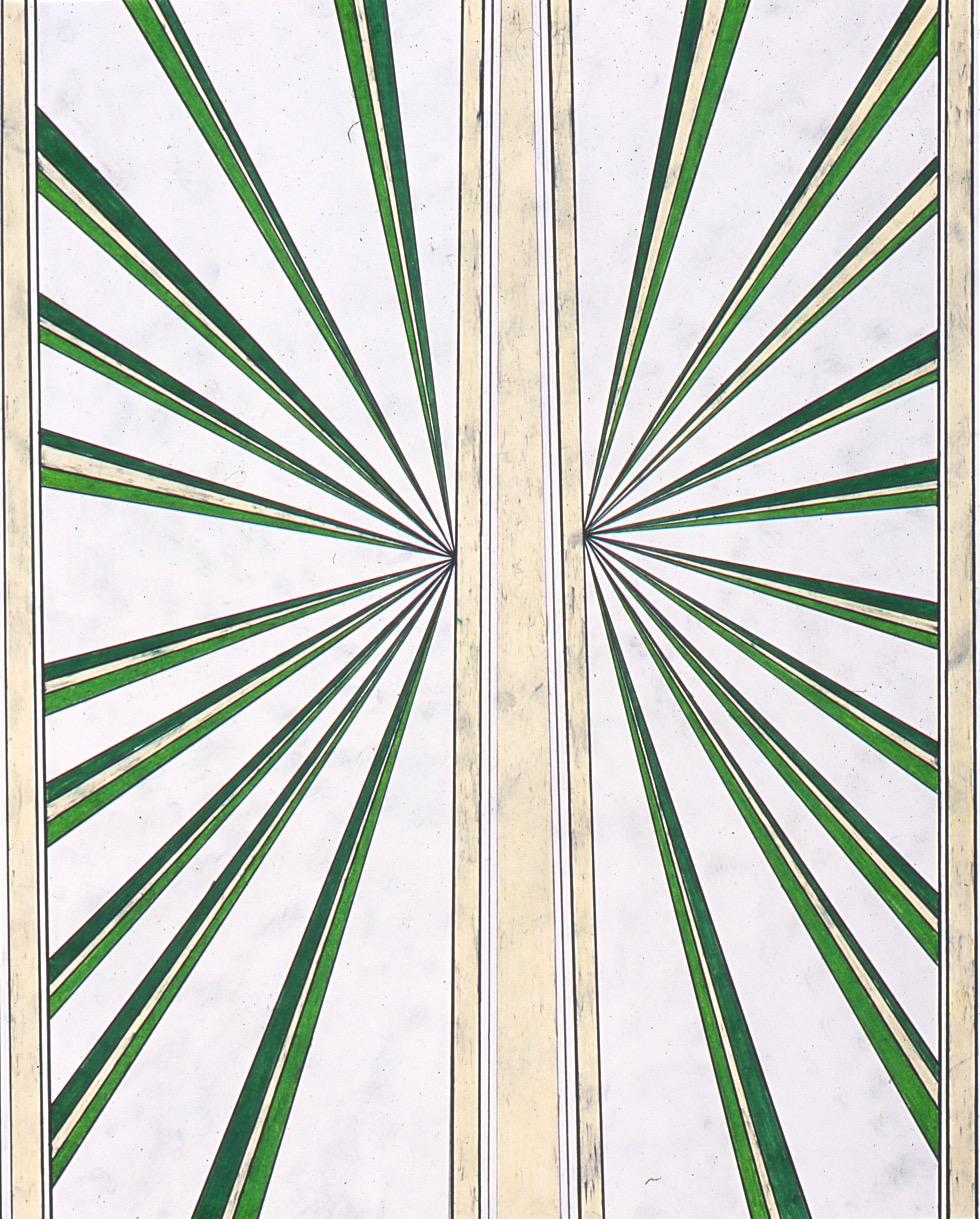 """Mark Grotjahn Untitled 2002 Colored pencil on paper 4"""" x 19"""""""