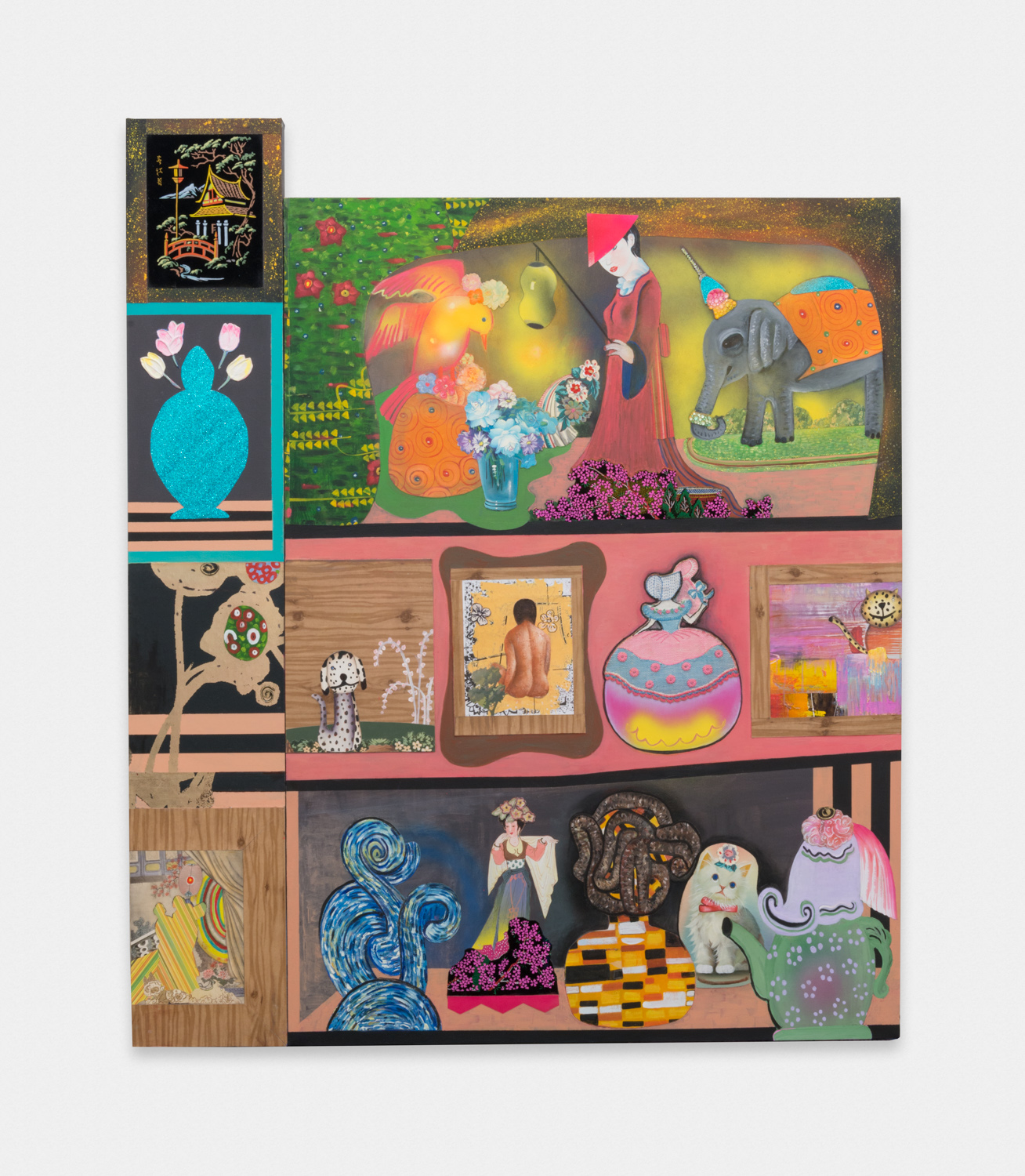 Phyllis Bramson  The Collector's Wife's Collection (All That She Owns)  2016 Mixed media and collage on canvas 71h x 60w in PB001