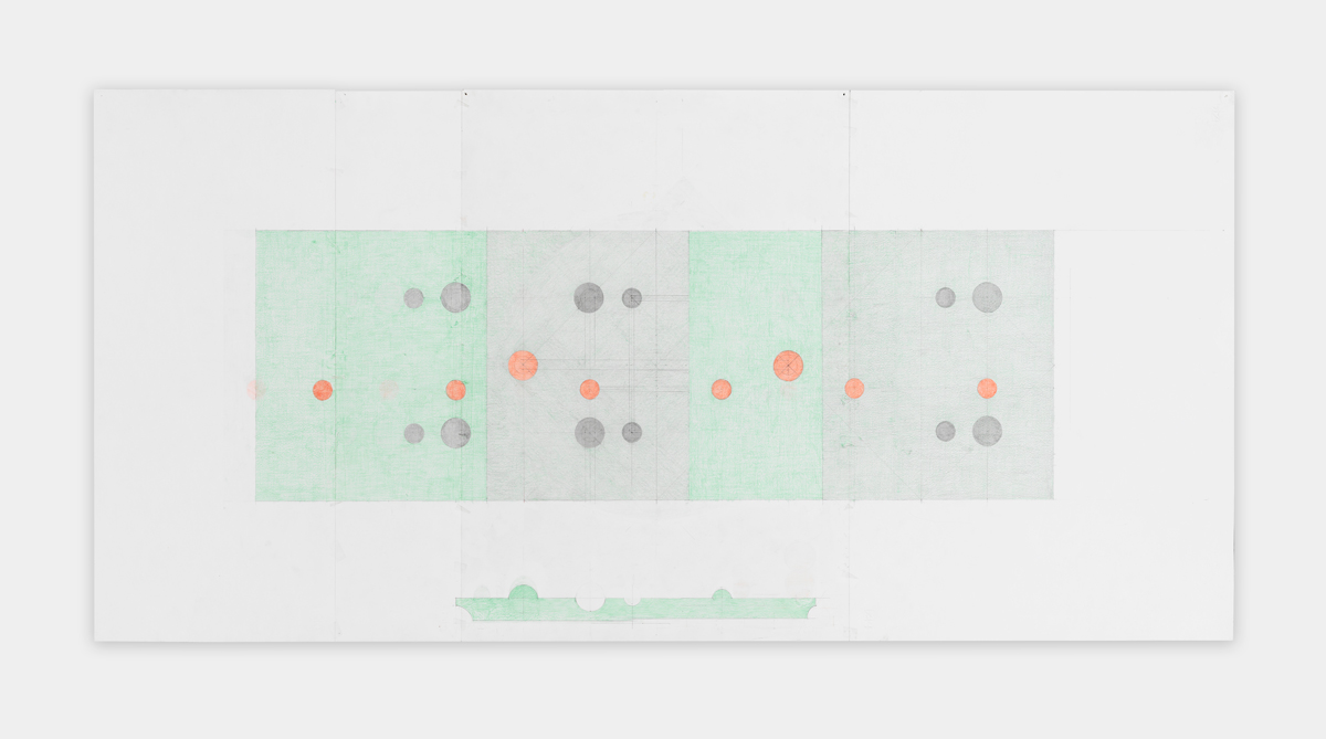 Richard Rezac  Study for Untitled  2016 Colored pencil and graphite on Fabriano paper 27 ¾h x 58 ½w in RR001