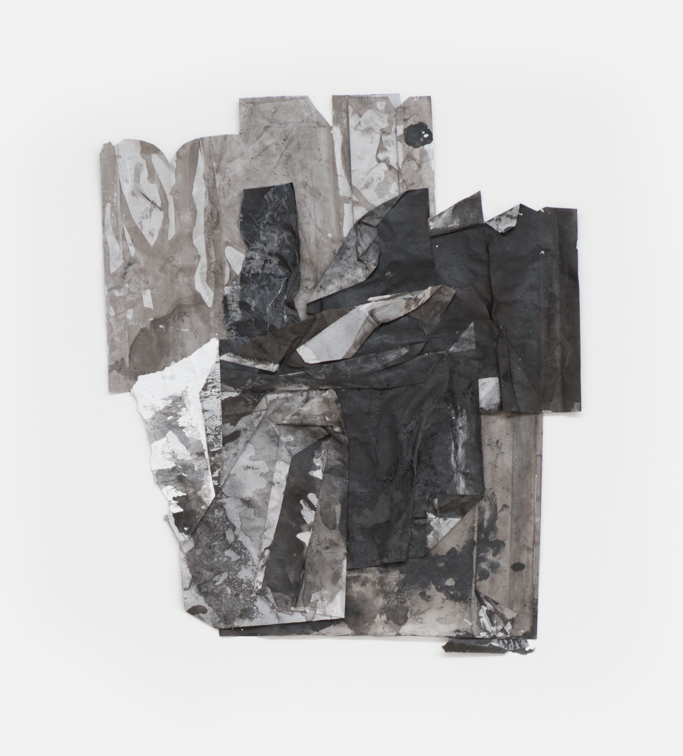 Danny Giles  scrap #22  2016 India ink, spray paint, acrylic, latex, charcoal, graphite, tracing paper 20h x 17w in DG002