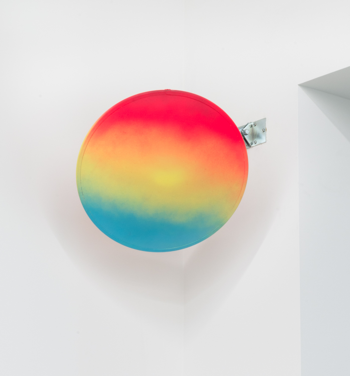 Danny Giles  Late Romance (II)  2015 Spray paint on security mirror 18h x 18w x 3 ½d in DG001