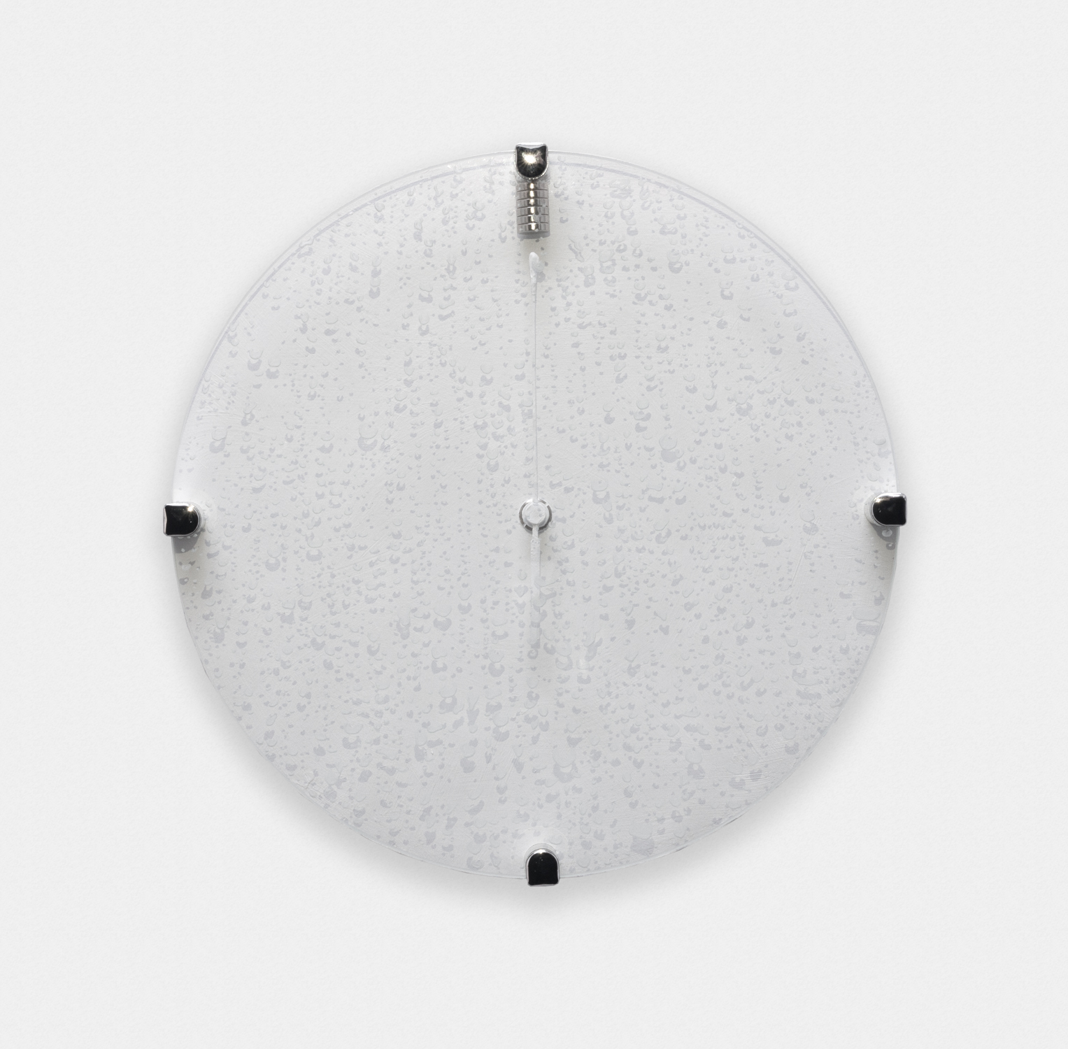 Greg Bae  It Shall All Be Mine (1)  2016 Magnetized atomic clock, magnets, acrylic and engraving on glass 10 ½in diameter GB001