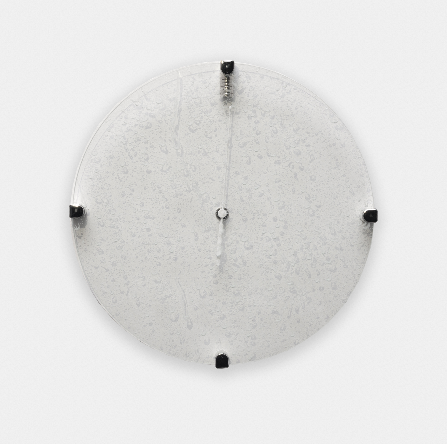 Greg Bae  It Shall All Be Mine (4)  2016 Magnetized atomic clock, magnets, acrylic and engraving on glass 10 ½in diameter GB004