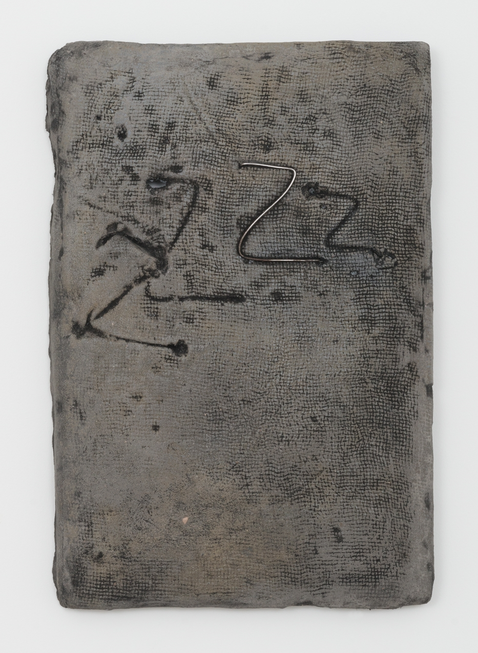 Jay Heikes  Zs  2016 Pigmented mortar, steel, ink, aluminum,and wood 26h x 17 ½w x 2d in JH083