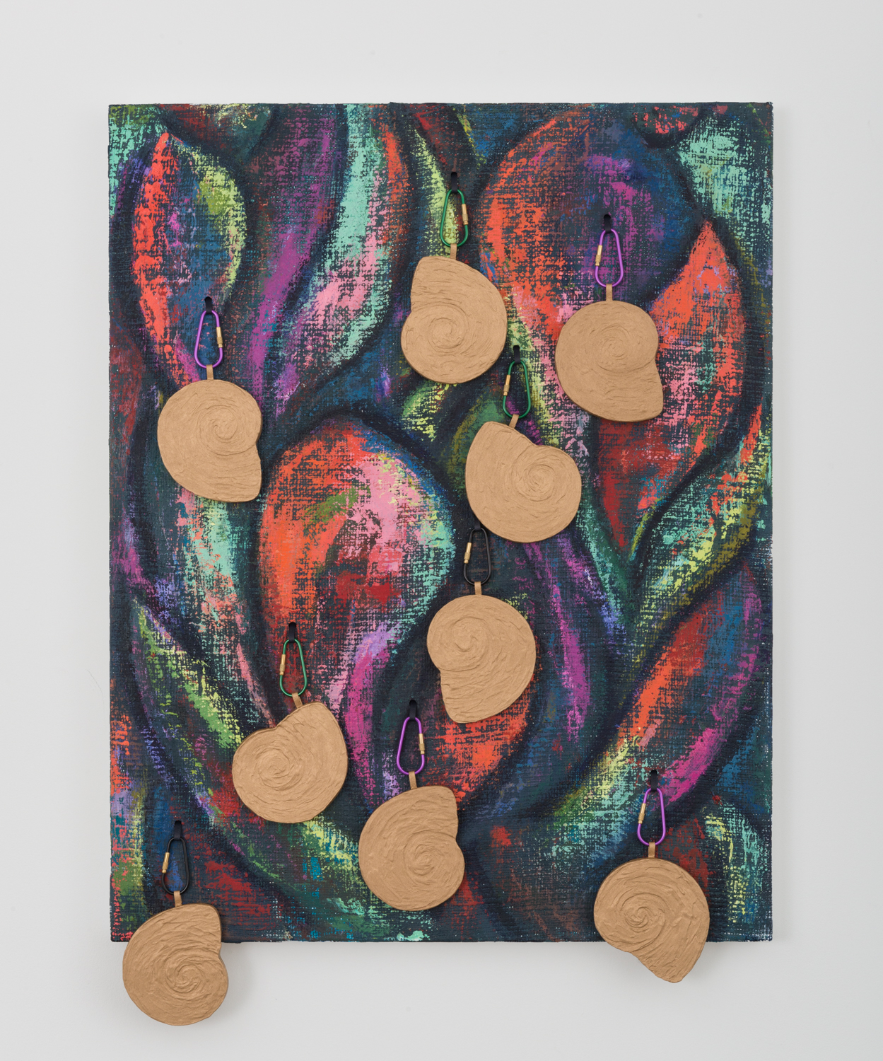 Dianna Molzan  Untitled  2016 Oil on jute, oil on canvas and wood, and carabiners 33h x 23 ½w x 2 ⅒d in DM003